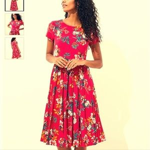 Beautiful Floral Pleated Flare Dress - LOFT